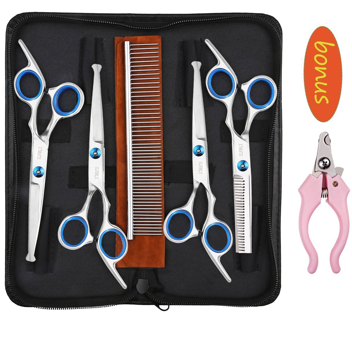 Professional Dog Grooming Scissors Kit Stainless Steel Round Tip Cutting Thinning Curved Shears Grooming Comb Pet Hair Fur Scissors Set with Extra Dog Nail Clippers for Dogs and Cats