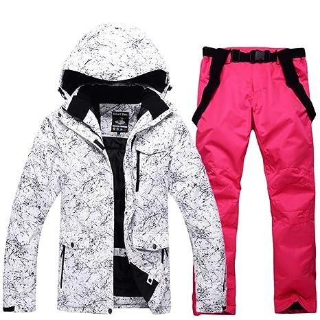 Zjsjacket Traje de Esqui Mujeres al Aire Libre Impermeable a Prueba de Viento Trajes de Nieve