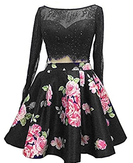Bessdress Lace Long Sleeve Short Prom Dresses Two Piece Homecoming