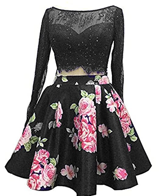 Bessdress Lace Long Sleeve Short Prom Dresses Two Piece Homecoming Dresses Bd257