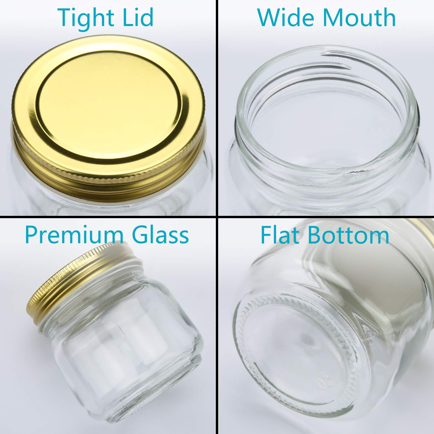 Encheng 8 oz Glass Jars With Lids,Ball Wide Mouth Mason Jars For Storage,Canning Jars For Caviar,Herb,Jelly,Jams,Honey,Dishware Safe,Set Of 24 by Encheng (Image #3)