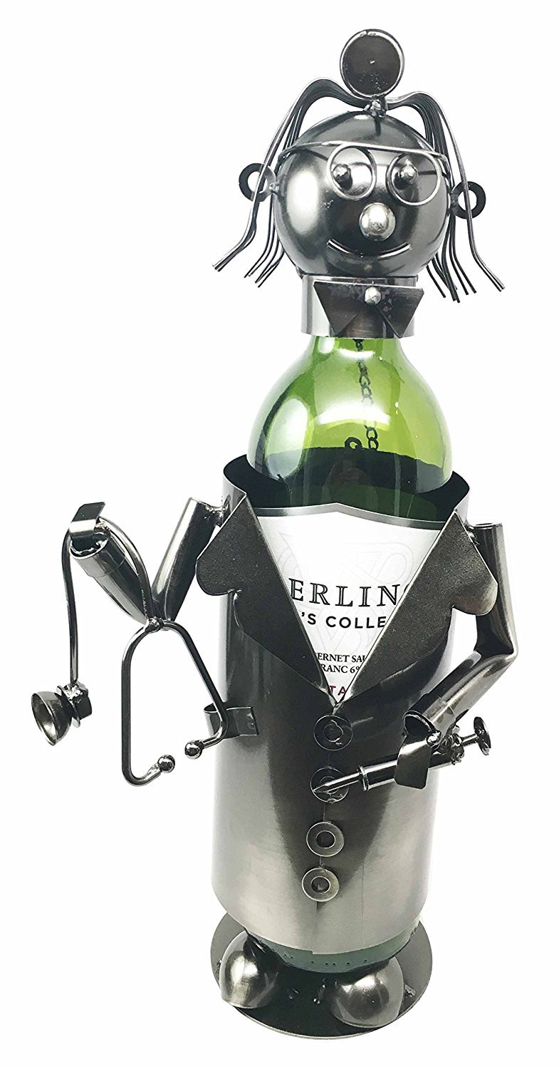 Lady Family Doctor On Duty Hospital Clinic Hand Made Metal Wine Bottle Holder Caddy Female Medical Practitioner Gifts & Decors