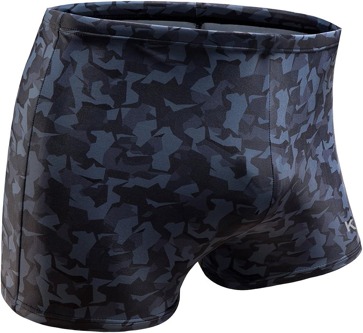KGKE Swim Boxer Briefs Short Swim Jammer Camo Racer Mens Square Leg Swimsuit…