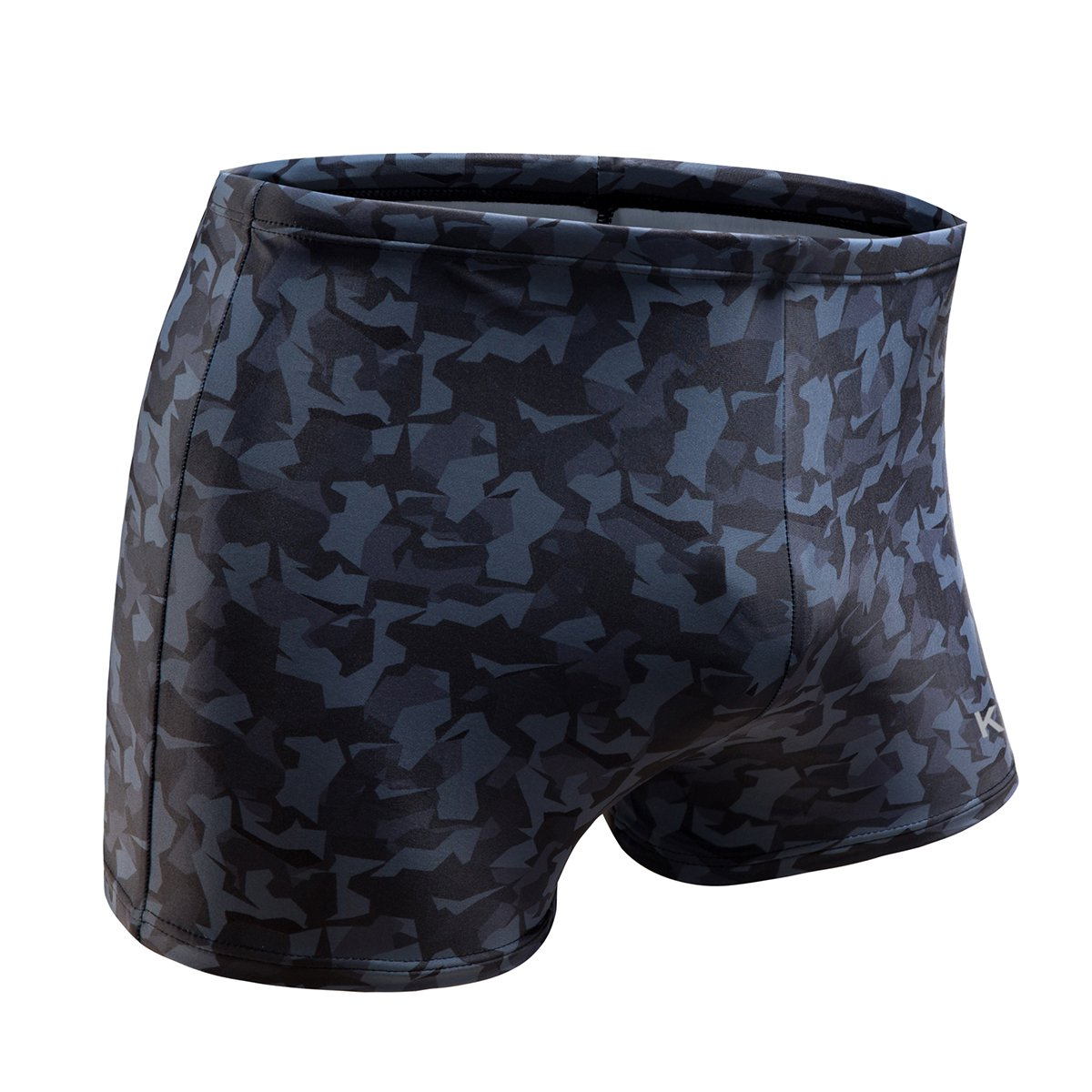 KGKE Swim Boxer Briefs Short Swim Jammer by Camo Racer Mens Square Leg Swimsuit (Grey Camo, M)