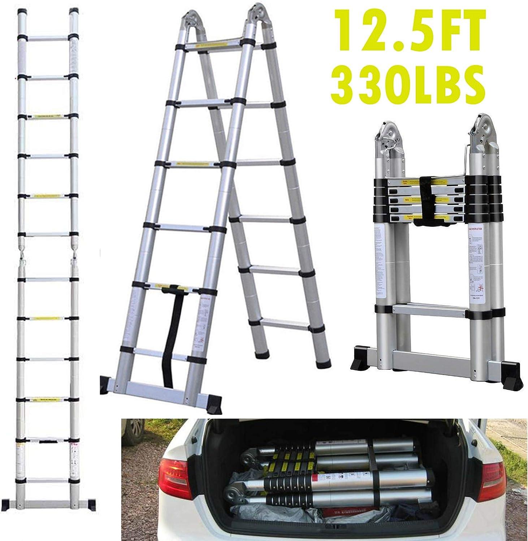 Escalera de escalón plegable de 150 kg de capacidad, antideslizante, de aluminio, ligera, portátil, para el hogar, jardín, trabajo, interior y exterior: Amazon.es: Bricolaje y herramientas