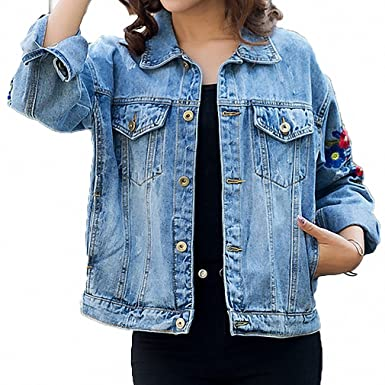 Womens Denim Jacket Ripped Embroidery Hole Jeans Coat Floral Long Sleeve Blue M