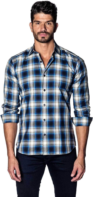 Jared Lang White and Navy Plaid Shirt for Men AH-OT-5075