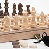"A&A 11.5"" Wooden Chess Set / Checkers - 2.5"" Wooden Chess Pieces / German Knight Staunton Wooden Chessmen - Classic Board Game"