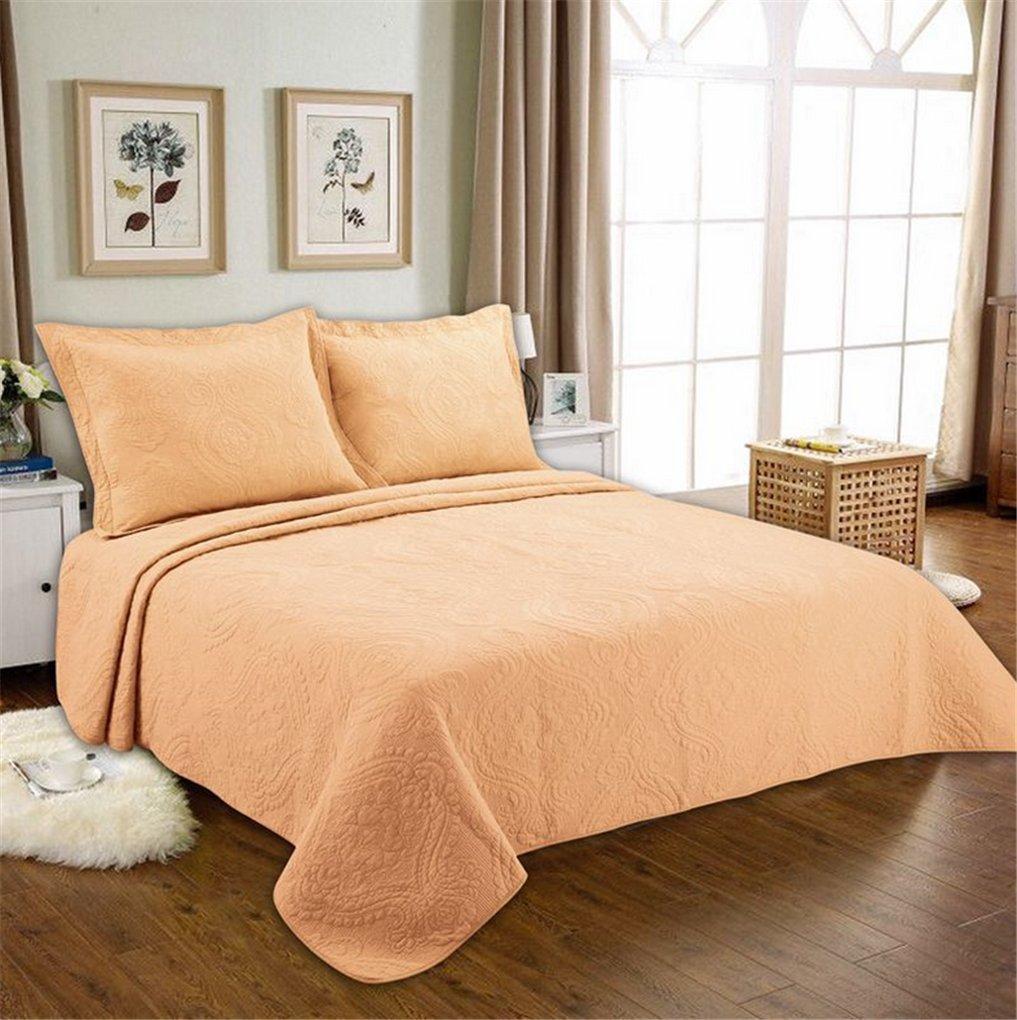 両面エンボス洗濯キルティング洗えるベッドカバー3ピースセットは、すべてのコットンスーパーソフトソリッドカラーのホームテキスタイルです(ラージサイズ/クイーン/キング),orange,230*250cm B07QJYXRKH orange 230*250cm
