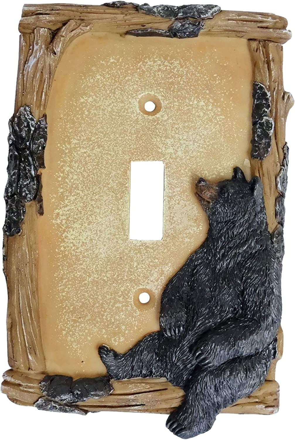 Black Bear on Log Single Switch Cover Cabin Lodge Style Home Décor