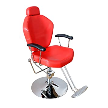 Sliverylake Reclining Hydraulic Barber Chair Hair Styling Shampoo Chair (Red )