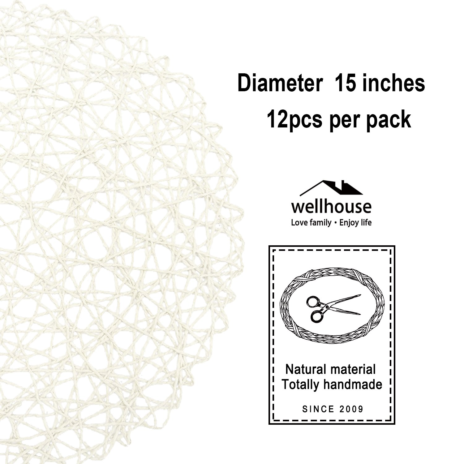 wellhouse Round Woven Place Mats Paper Fiber Hollow Decorative Placemat Ding Room Decor 12 Pieces (White) by wellhouse (Image #2)