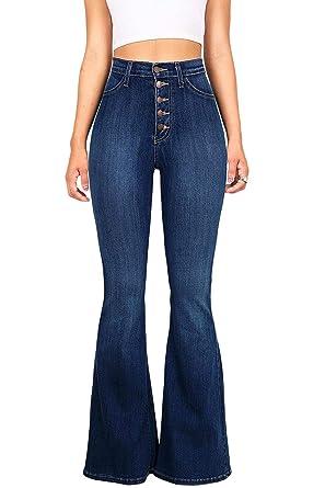 dda30afe35dcc Zojuyozio Femmes Taille Haute Jeans Bootcut Et Flare Denim Pnats Pantalon:  Amazon.fr: Vêtements et accessoires