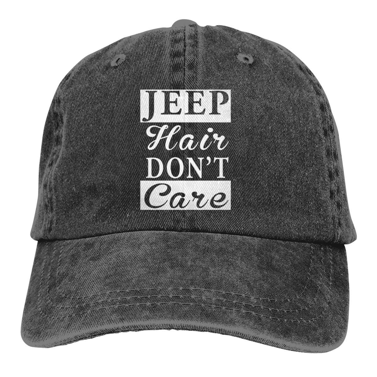 Jeep Hair Dont Care Dad Denim Hat Vintage Baseball Cap Adjustable Men