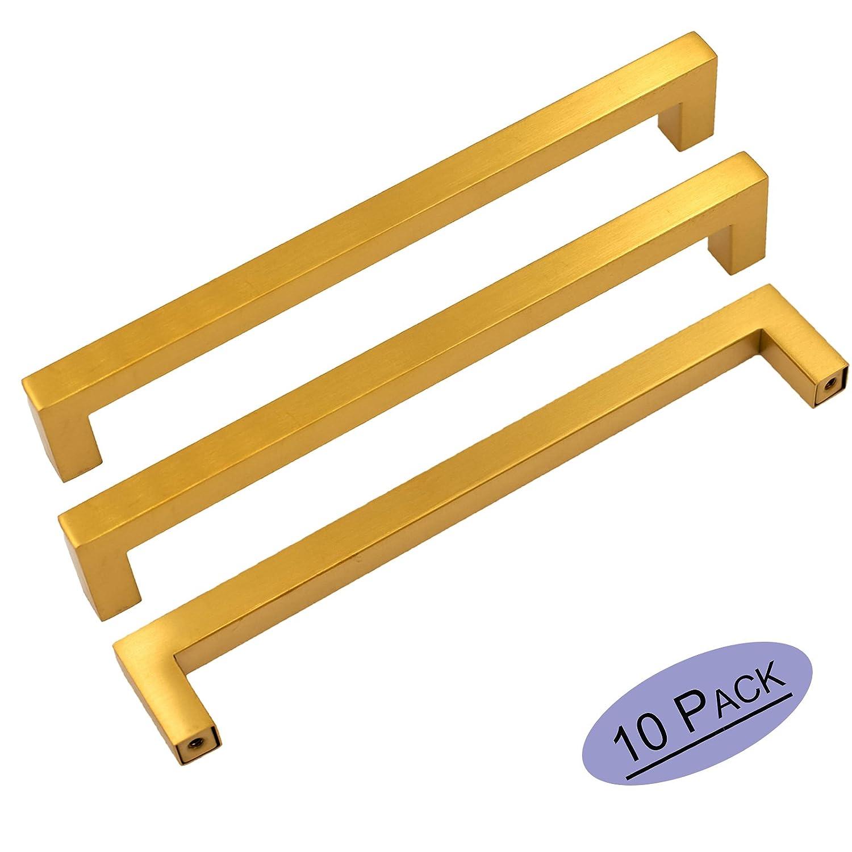 goldenwarm Gold Drawer Pulls 10in Brass Hardware for Cabinets - LSJ12GD256 Modern Square Bar Pulls for Cabinets Brushed Brass Drawer Handles 10 Pack Closet Door Hardware