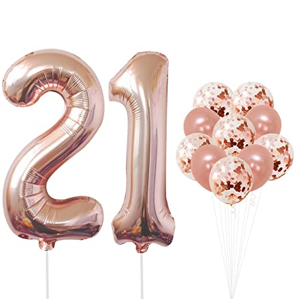 21 Number Balloons Rose Gold