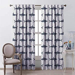 HELLOLEON Sea Animals Wear-Resistant Color Curtain Sharks Swimming Horizontal Silhouettes Powerful Dangerous Wild Life Waterproof Fabric W96 x L72 Inch Charcoal Grey White