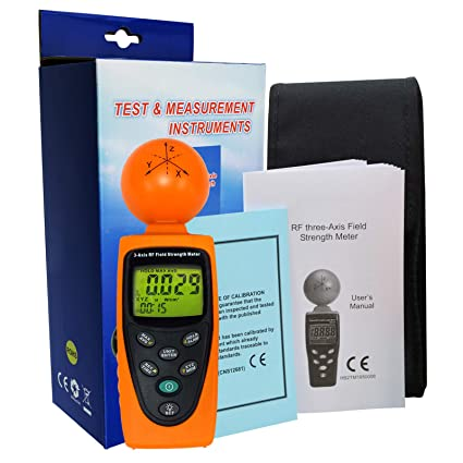 Triple Axis Radio Frequency (RF) Digital Field Strength Meter EMF Radiation Cell Phones, Smart Meters, Home Inspections 50MHz ~ 3.5GHz Frequency ElectroSmog ...