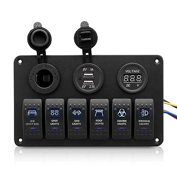 Excelvan CS-441 4 en 1 Panel de Control Interruptores Cargador Mechero Voltímetro Dual USB (Impermeable, con Luz LED, para Coche Vehículo RV Barco ...