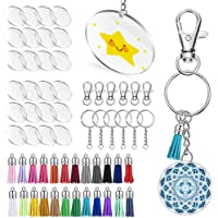 Keyzone 96 Pieces Acrylic Transparent Circle Discs, 2 Inch Diameter Round Clear Acrylic Keychain Blanks and Tassel…