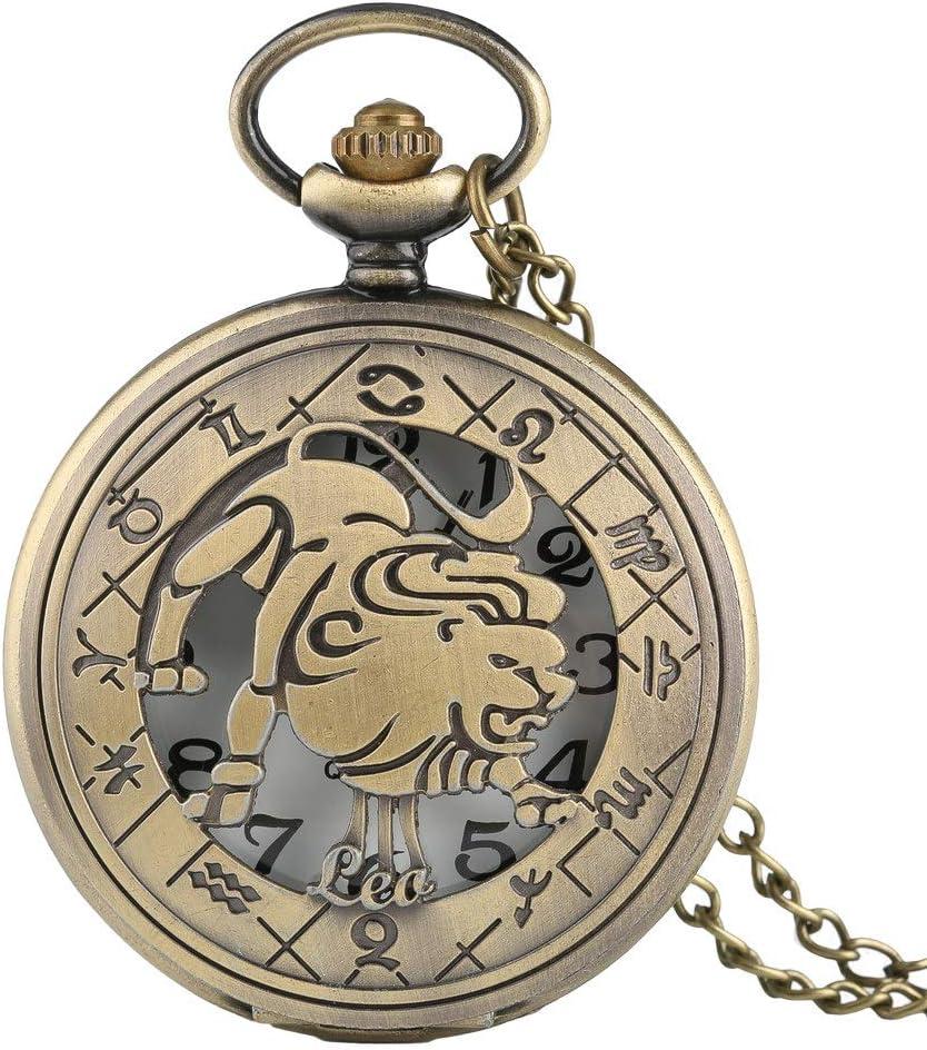 NOBRAND Reloj de Bolsillo, 2020 Regalos Populares Moda 12 Signos del Zodiaco Firmados Leo constelación Colgante Collar Collar Bronce Reloj de Bolsillo Mujer cumpleaños Masculino