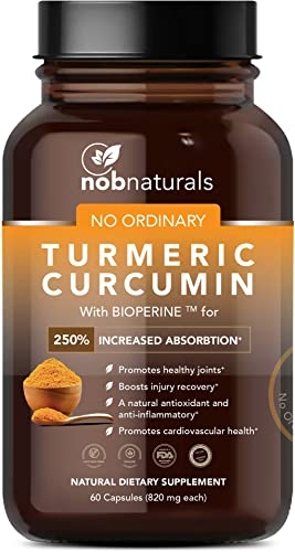 NOB Naturals Turmeric Curcumin Bioperine for 250 Increased Absorption for Pain Relief, Joint Support Energy Vegan Turmeric Curcumin Supplement with 95 Curcuminoids 60 Capsules 1-Month