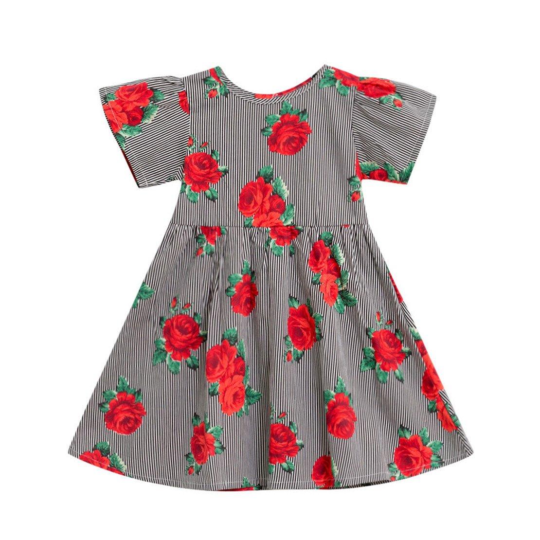 ZHANGVIP Infant Toddler Kids Baby Girls Floral Cartoon Printed Sleeveless Clothes Princess Dress Mini Skirt (6T, Red)
