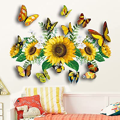 Removable Sunflower Wall Sticker Kitchen Waterproof Decals Home Decor Mural Art