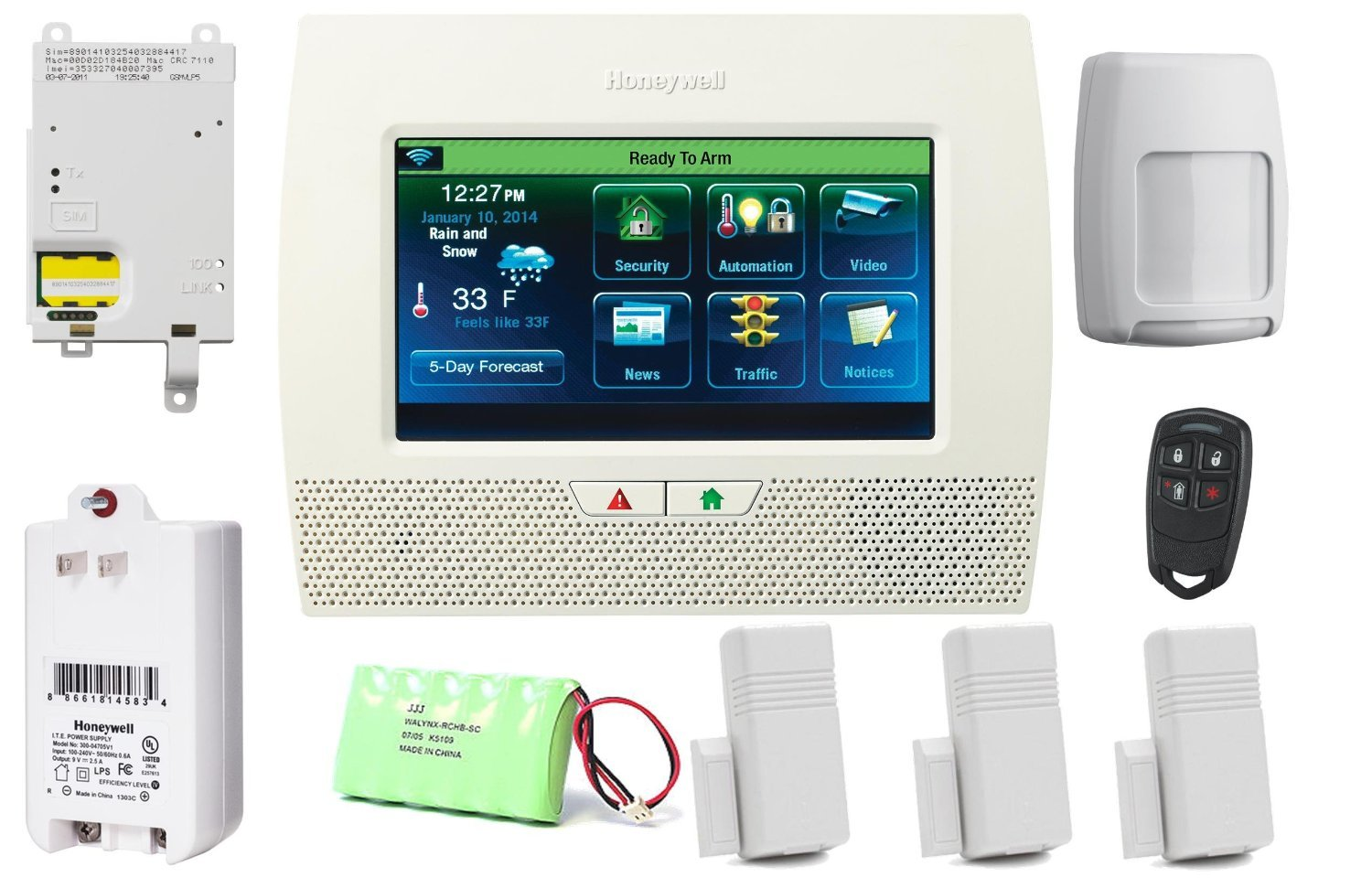 Honeywell Lynx Touch L7000 GSM Security Alarm Package with 3GL Cellular Communicator by Honeywell