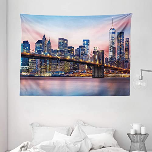 Ambesonne New York Tapestry, Brooklyn Bridge and Lower Manhattan Skyline Under Pink Sunrise Long Exposure Art Image, Wide Wall Hanging for Bedroom Living Room Dorm, 80 X 60 , Blue Pink