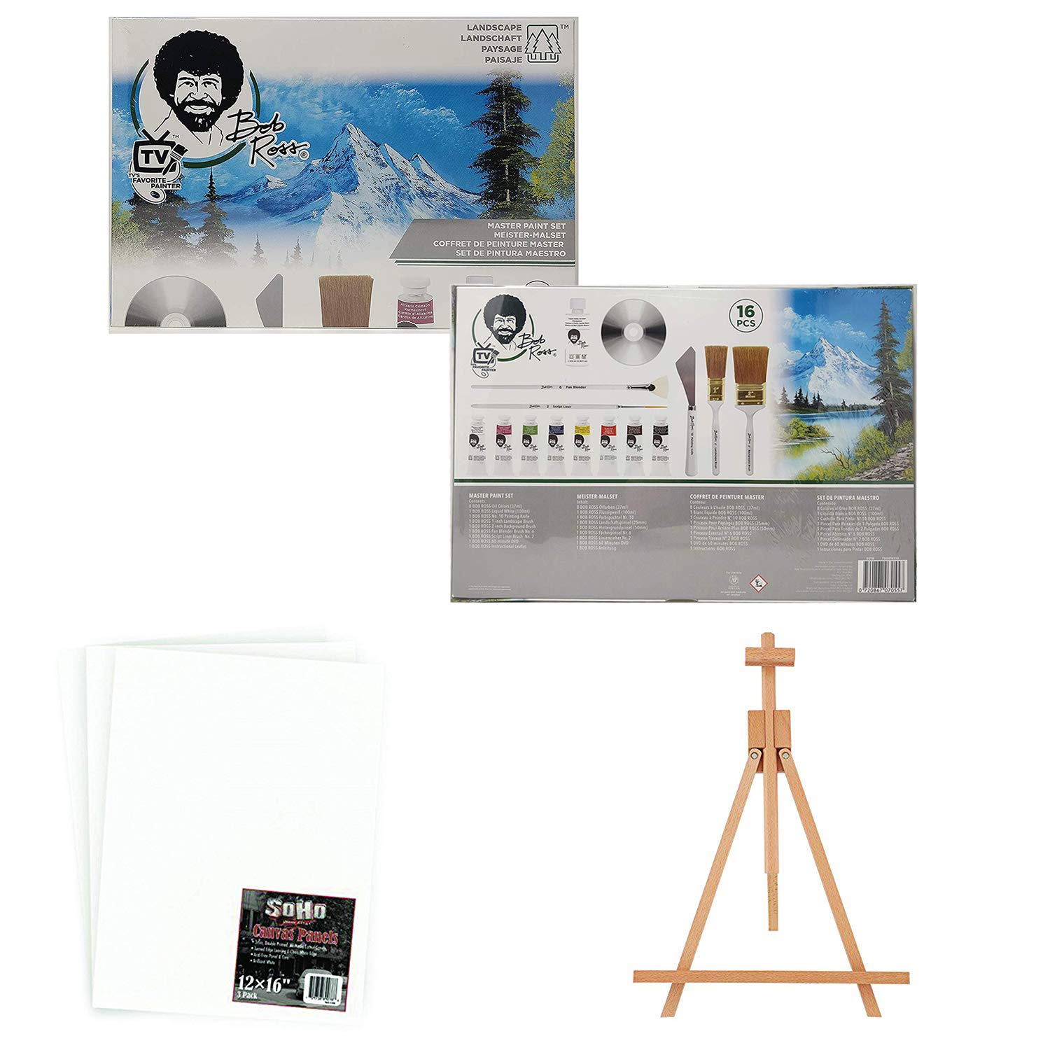 Bob Ross Master Artist Oil Paint Set Bundle with Wood Tabletop Travel Art Easel and Canvas Panels (3pk) - 12x16 (3 Items) by JERRY'S ARTARAMA