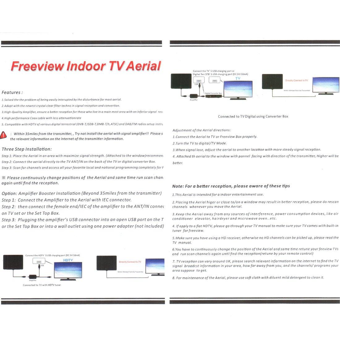 Antena TV Interior, Negro Nueva versi/ón 2019 Antena Interior TDT 60 Millas con Amplificador de Se/ñal y Cable Coaxial de 13.2 FT Digital HDTV Antena Portatil para DVB-T TDT
