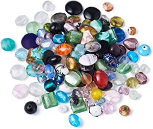 Craftdady 200 pcs Mixed Shapes & Colors Lampwork Glass Beads Loose Beads Fit Most Major Charm Bracelets, 4-20x4-20mm, Hole: 1-2.5mm