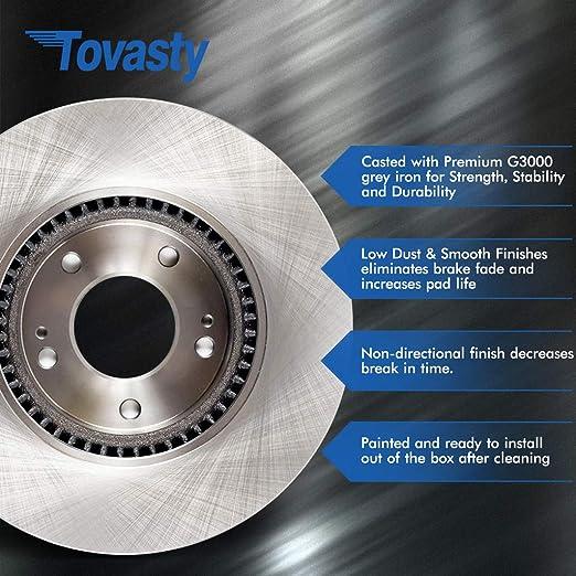 Tovasty Front Brake Kit /& Hardware Clips /& Brake Cleaner /& Gloves for 05 2005 06 2006 07 2007 Ford Focus BK25281040102 Premium Disc Brake Rotors /& Ceramic Pads