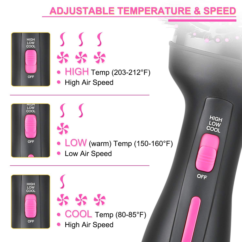 Hair Dryer Brush, Hot Air Brush, Hair Styler for Drying & Straightening & Curling, 3 in 1 Pink Lighter Styler, Hair Dryer & Volumizer : Beauty