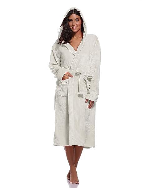 finest fabrics aliexpress new style of 2019 Luvrobes Women's Plush Fleece Hooded Robe Ultra-Soft Long Bathrobe