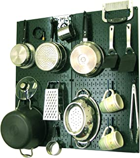 product image for Wall Control Kitchen Pegboard Organizer Pots and Pans Pegboard Pack Storage and Organization Kit with Green Pegboard and Blue Accessories
