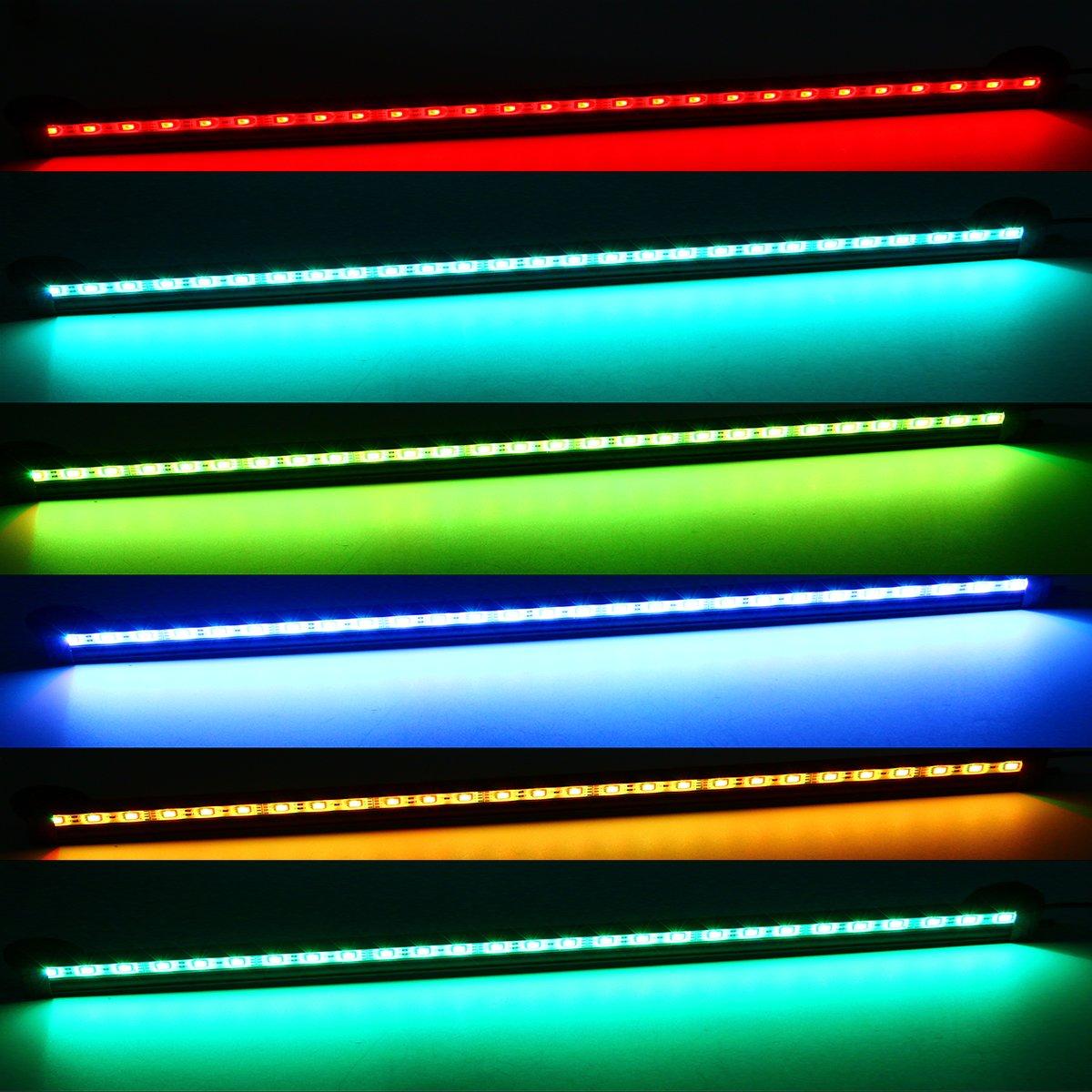 Xcellent Global Sistema de Iluminación y Burbujas de Aire para Acuario de 31 cm Luces de 18 LED Sumergible Impermeable RGB Luces de 16 Colores 5050 LED ...