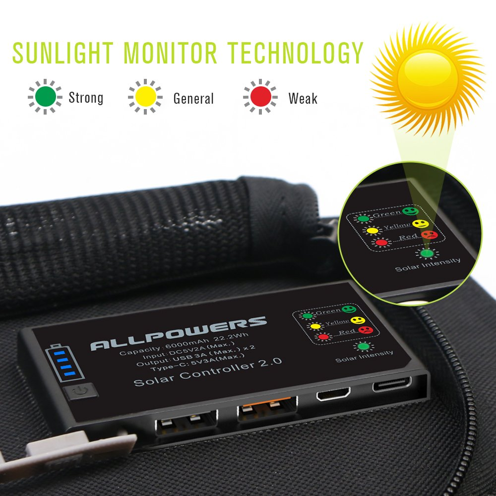 Allpowers 21w Solar Charger With 6000mah Battery 3 Usb Loop September Powerbank Slim 80000mah Portsusb C And A Sunpower Panel Power Bank For Iphone 7 6s 6 Plus