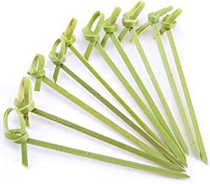 JapanBargain 1597x20, Cocktail Picks Appetizer Picks Bamboo Skewers for Snack Sandwich Finger Food Tapas Fruit Kabob BBQ Hors D'oeuvre Twisted End Knotted Bamboo Sticks, 6 inch, 1000pcs