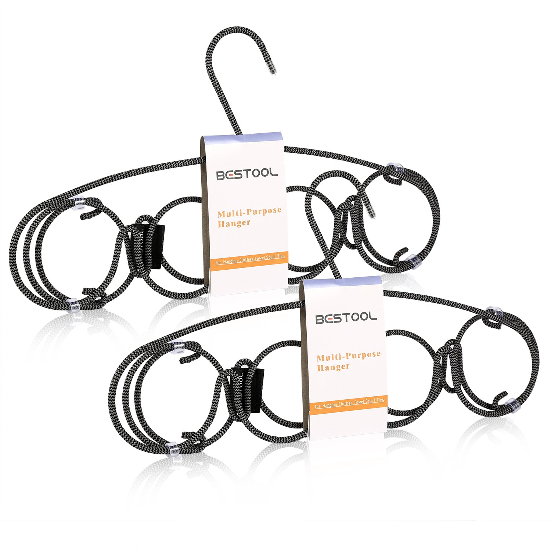 Hangers - Heavy Duty Scarf Hanger - Non Slip Space Saving Tie Hanger Wire Stainless Steel Flocked Hangers for Men Women and Kids Scarf Belt and Tie - 3 Tier 12 Hooks Laundry Closet Hanger (2 Pack)