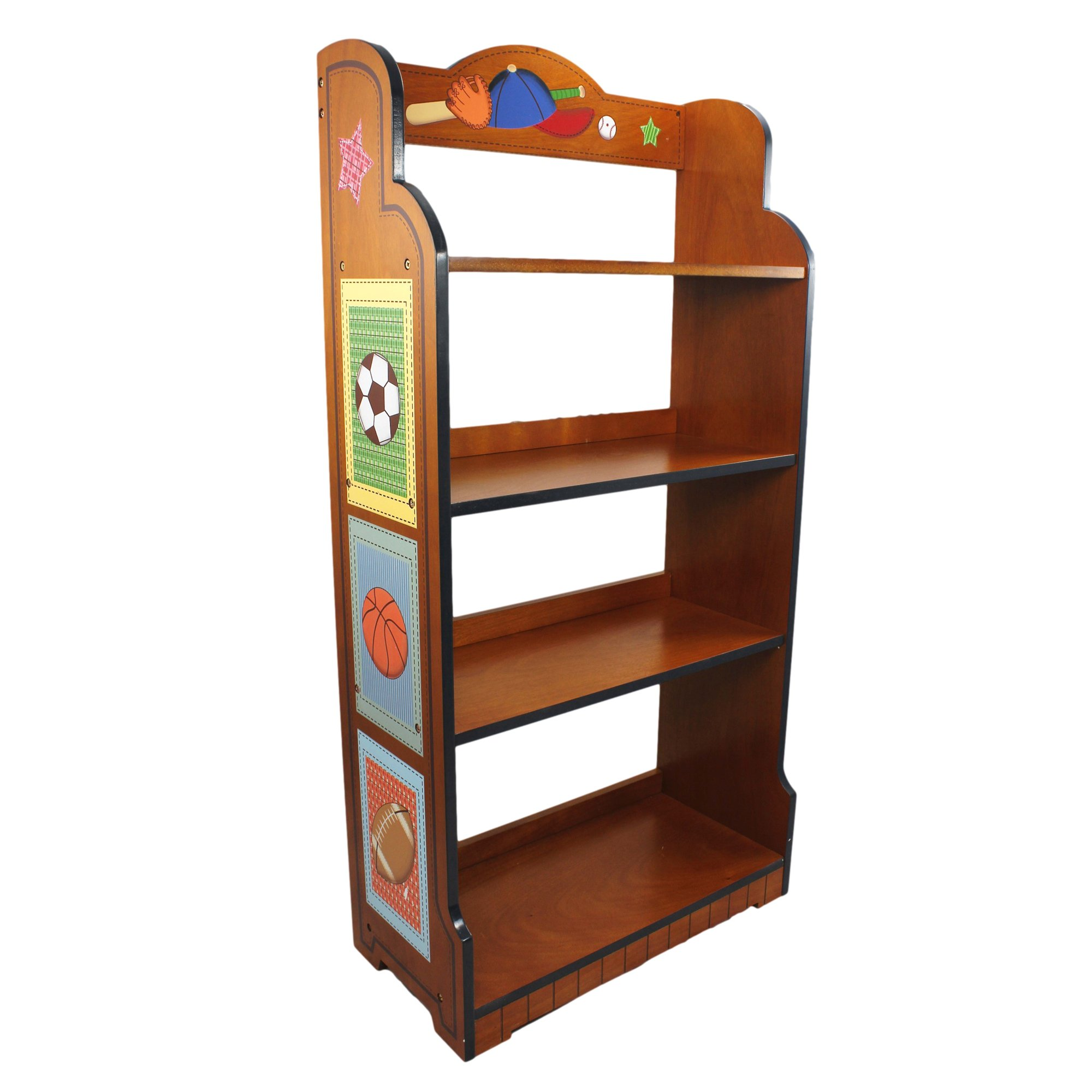 Fantasy Fields - Lil' Sports Fan Thematic Kids Wooden Bookcase with Storage | Imagination Inspiring Hand Crafted & Hand Painted Details   Non-Toxic, Lead Free Water-based Paint