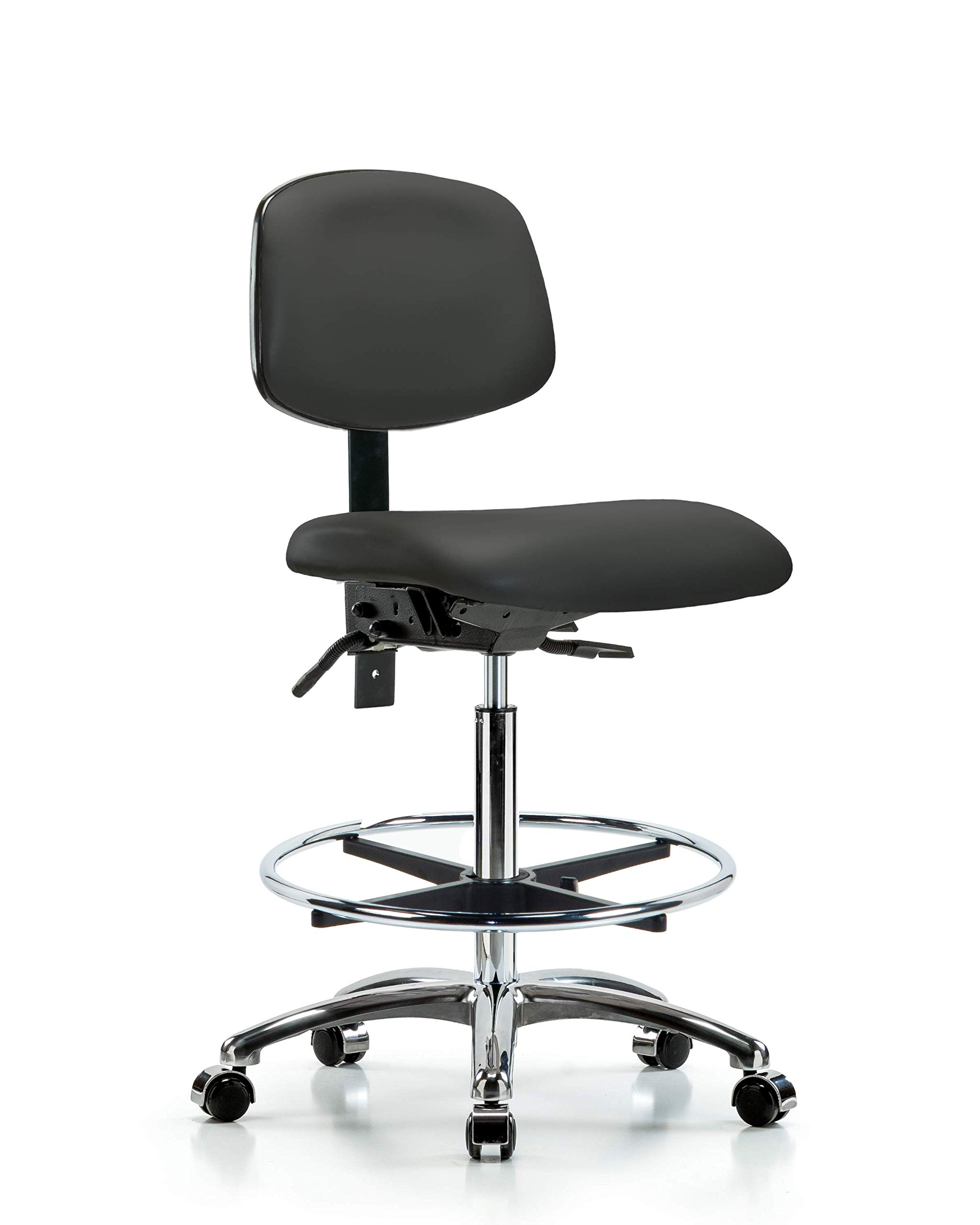 LabTech Seating LT44532 High Bench Chair, Vinyl, Chrome Base/Foot Ring/Casters, Charcoal