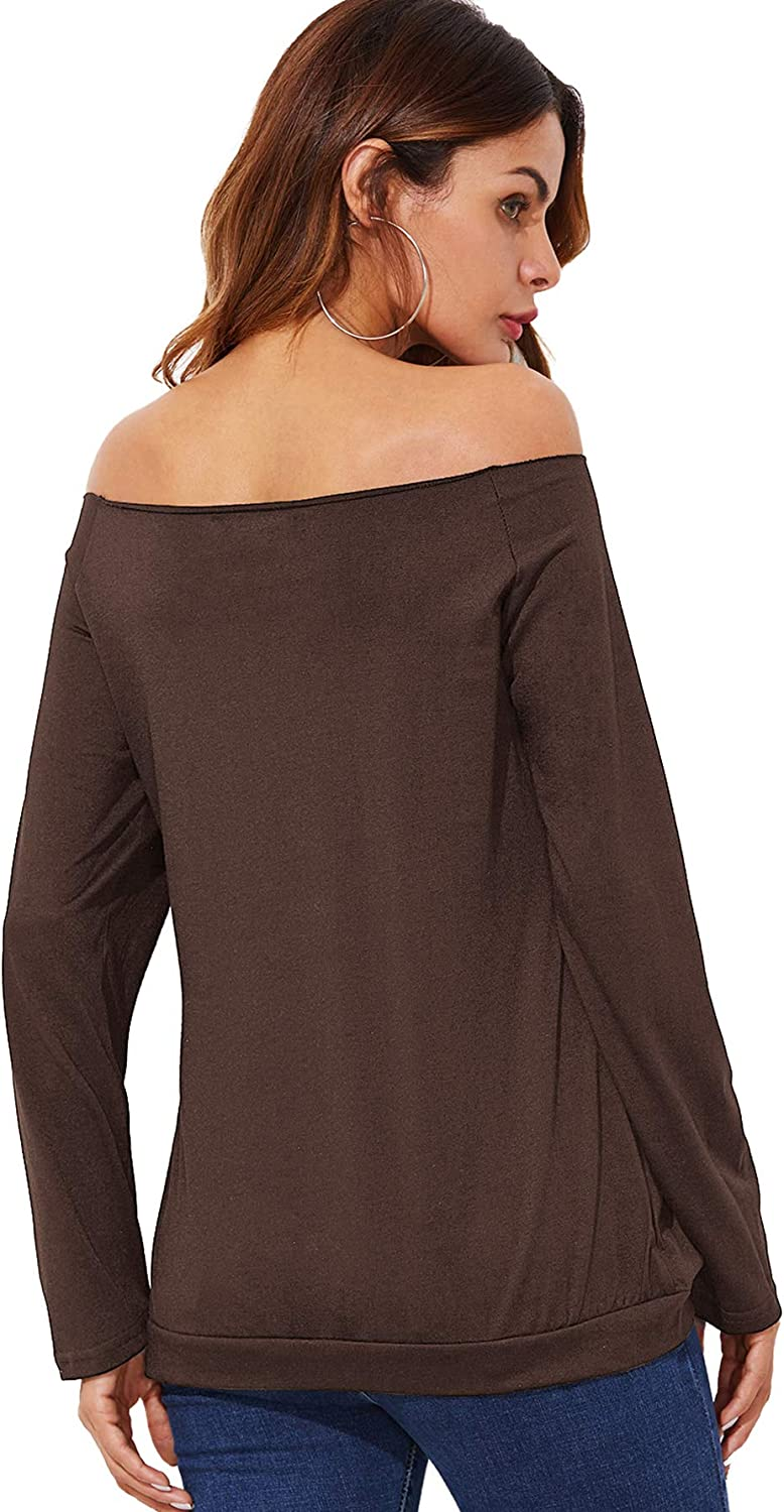 ROMWE Womens Raw Cut Off the Shoulder Long Sleeve Tee Shirt Top Blouse