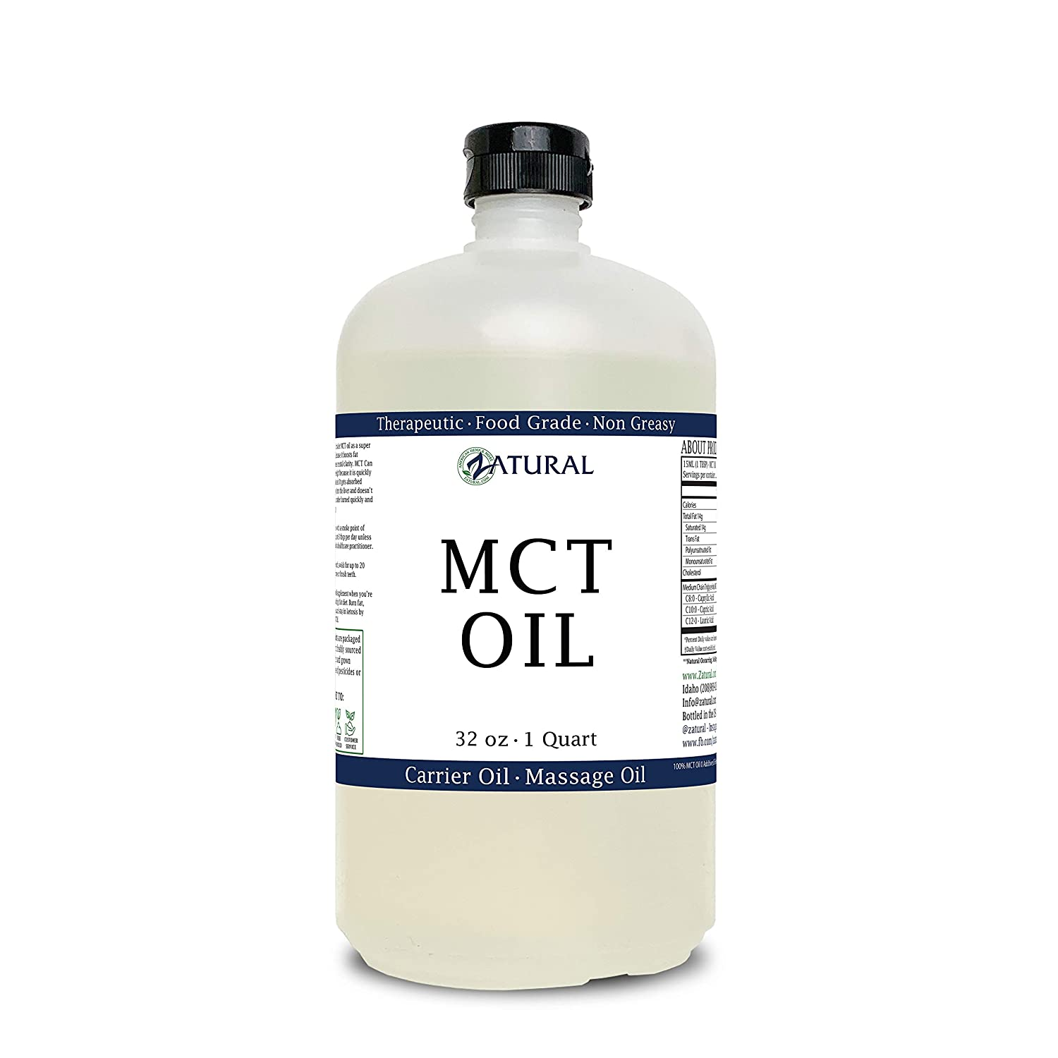 MCT Oil, Certified Food and Therapeutic Grade, Carrier Oil, Massage Oil, Hydrating Oil, Hair Oil, 0 Additives, Pure MCT Oil (32 Ounce)