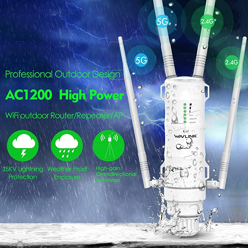 WAVLINK AC1200 High Power Outdoor Weatherproof WiFi Range Extender/Wireless Access Point/Router with Passive POE, Dual Band 2.4GHz 300Mbps+5.8 GHz 867Mbps