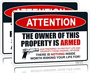 "Dxsigns Warning Signs for Property Gun The Owner of This Property is Armed Sign Protected Security Sign, 10""x14"" Rust Free Aluminum, UV Ink Printing,Indoor or Outdoor Use for Home(2-Pack)"