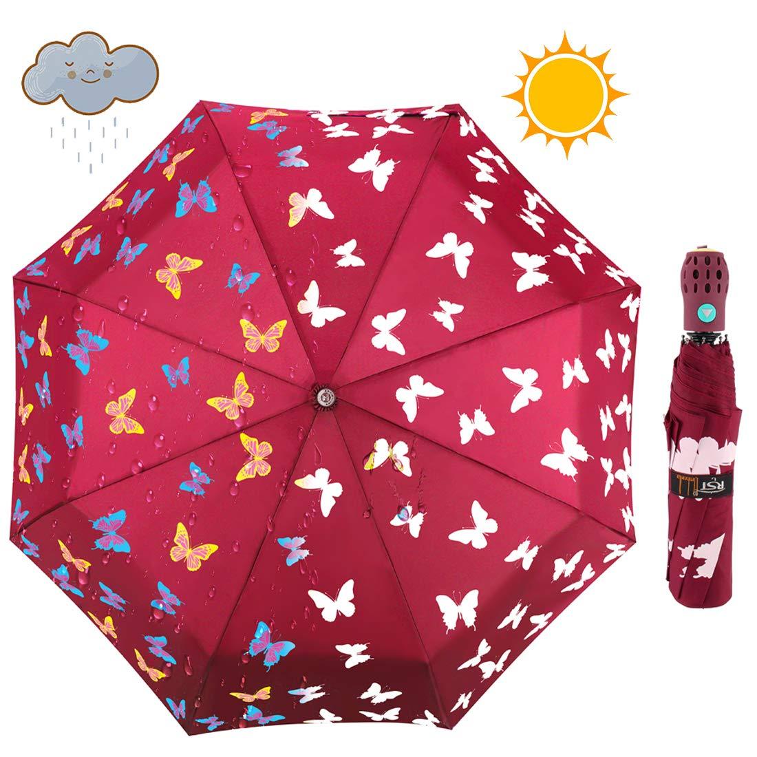 iMucci Butterfly Sun Block Compact Umbrella - Changing Color UV 40+ Travel Umbrella Auto Open
