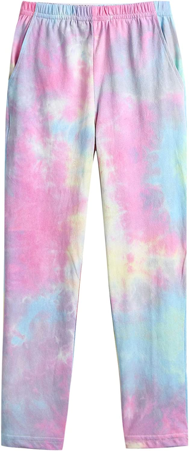 Arshiner Girls Tie Dye Pajamas Set Long Sleeve T-Shirt Tops and Pants Two Piece Outfit Fall Winter Clothes