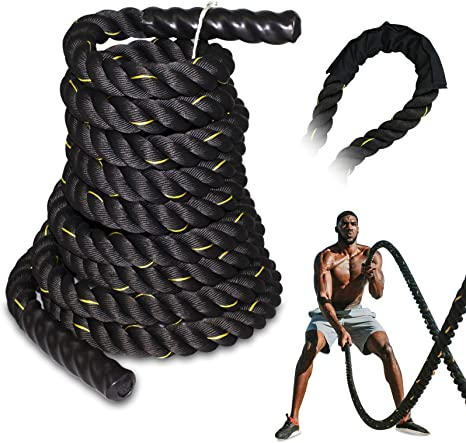 """50ft 40ft 1.5/"""" Battle Rope Poly Dacron Undulation Rope Exercise Fitness 30ft"""